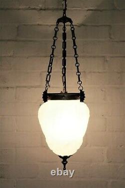 A Large Antique French Glass Ceiling Light Milk Glass Pendant Chandelier