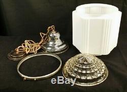 ANTIQUE 1920s ART DECO LIGHT SKYSCRAPER LIGHT FIXTURE MILK GLASS LARGE PENDANT