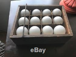 ANTIQUE primitive 12 blown MILK GLASS eggs FARM collectible W wood egg carrier