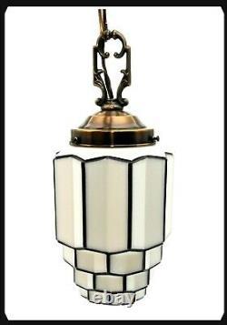 ART DECO MILK GLASS SKYSCRAPER CEILING LIGHT GLOBE PENDANT LAMP 9 TALL 1930's