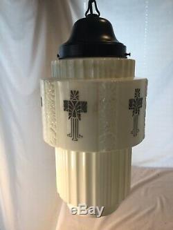 ART DECO PENDANT CEILING LIGHT SHADE STENCIL MILK GLASS SKYSCRAPER GLOBE Vtg