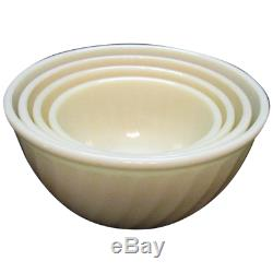 Anchor Hocking Fire King Swirl Milk Glass SET OF 4 MIXING BOWLS NEW IN THE BOX