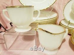 Anchor hocking, Fire King, 32 Pc Dinnerware Set White Swirl Milk Glass Gold Trim