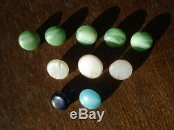 Antique 10 Mini Green, White Milk Glass Buttons Blue And Cobalt Glass Buttons