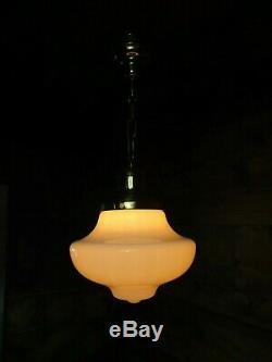Antique 12 Milk Glass Schoolhouse Hanging Pendant Light Fixture REWIRED CMR16