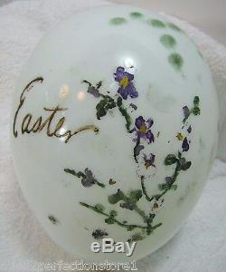 Antique 1800s Victorian Hand Blown Milk Glass Easter Egg Large Hand Painted