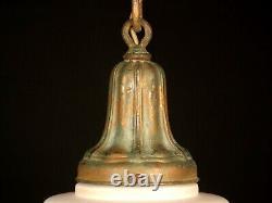 Antique 1920 Victorian Pendant Light Painted Satin Milk Glass Acorn Globe Shade