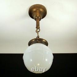Antique 1920's Art Deco Pendant Light Porch Hall Foyer White Milk Glass 6 Globe