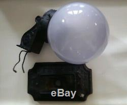 Antique 1920s Art Deco Cast Iron Wall Light Sconce White Milk Glass Globe Shade