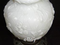Antique 19c Victorian Milk Glass Spider Web Oil Lamp FG Co Cast Iron Base Ornate
