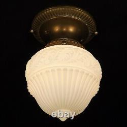 Antique 20s Victorian Milk Glass Globe Brass Flush Ceiling Light Fixture REWIRED