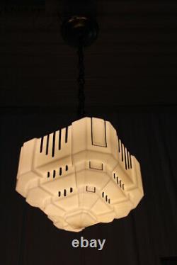 Antique Art Deco Ceiling Light Fixture Skyscraper Milk Glass Shade Globe Black