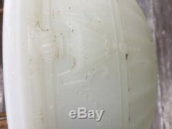 Antique Art Deco Large Bowl Pendant Hanging Lamp Milk Glass Garland Urns