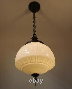 Antique Art Deco Milk Glass Globe Pendant Hall Foyer Entry Light Fixture REWIRED