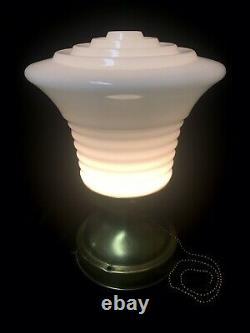 Antique Art Deco Milk Glass Shade Flush Mount Ceiling Light Brass Fixture