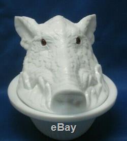 Antique Atterbury Milk Glass Boars Head Covered Dish Original Eyes Patd. 1888
