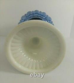 Antique Blue Font Oil Lamp White Milk Glass Base Eagle Burner