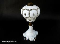 Antique Boston Sandwich Glass White Cut to Clear Glass Oil Lamp with Milk Base