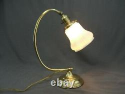 Antique Brass Art Deco Table Lamp Milk Opal Glass Squash Blossom Shade Hubbell