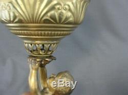 Antique Brass Cherub Banquet Oil Lamp Milk Glass Ball Shade The Rival 1893
