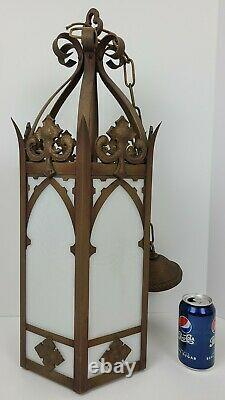 Antique Brass & Milk Glass Large Hanging Gothic Church Pendant Light Chandelier