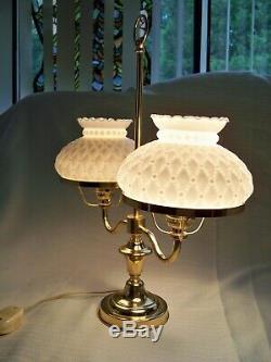 Antique Brass & Milk Glass Shades Student Desk Lamp