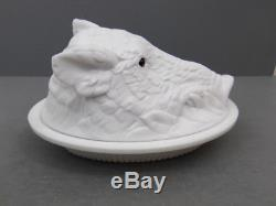 Antique Desirable Milk Glass Atterbury Boar's Head Covered Dish Patented 1888