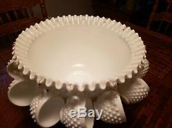 Antique Fenton Punch Bowl Set Milk Glass Hobnail 12 Cups & Stand / Wedding