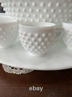 Antique Fenton White Milk Glass Hobnail Punchbowl Cups Underplate Ladle Wedding