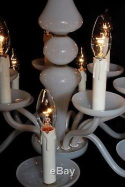 Antique French Opaline Milk glass chandelier 2 tier 12 arms lights