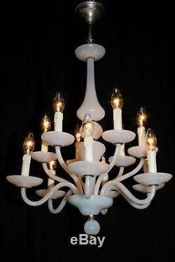 Antique French Opaline Milk glass chandelier 2 tier 12 arms lights France