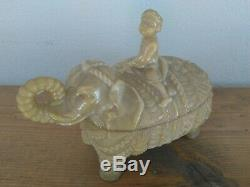 Antique French Vallerysthal Milk Glass Man on Elephant Covered Butter candy Dish