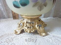 Antique GWTW Brass Parlor Lamp with Floral Motif White Milk Glass Ruffled Shade
