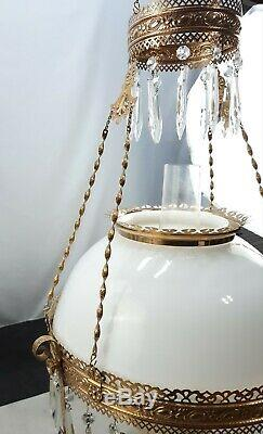 Antique Hanging Brass Library Parlor Oil Lamp White Milk Glass Shade And Font