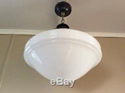 Antique Large White MilkGlass Pendant School Light Very Art Deco 1920s (2 of 7)