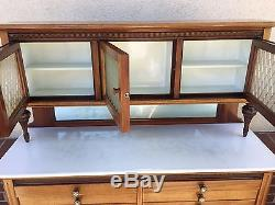 Antique Medical Dental Cabinet with White milk glass 14 drawer