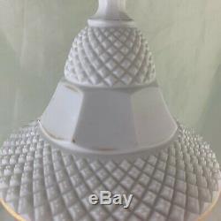Antique Milk Glass English Hobnail Lidded Vase Urn Gold Rim Rare