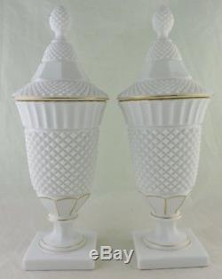 Antique Milk Glass English Hobnail Lidded Vase Urn Pair Gold Rim Rare