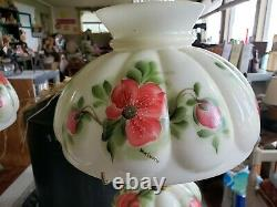 Antique Milk Glass Hand Painted End Table Lamps (Candy Jar included)