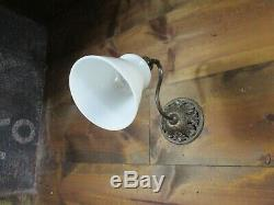 Antique Ornate Brass Wall Sconce Gooseneck Milk Glass Shade- Art Deco Nouveau 11
