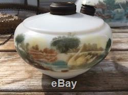 Antique Painted Milk Glass Swan Hanging Kerosene Library/Parlor Lamp PICC