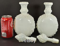 Antique Pair of Milk Glass Apothecary Jars Bottles Vases Mid 1800s Civil War Era