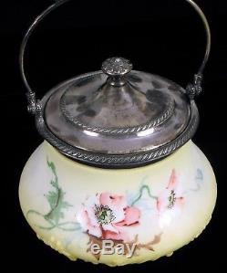 Antique Pairpoint Mount Washington Milk Glass Cookie Biscuit Jar Beautiful 3930