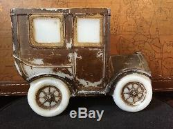 Antique Portieux Milk Glass Rare Old Car Fast Shipping