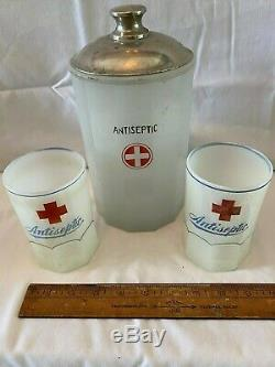 Antique Red Cross Milk Glass Decanter & Cups