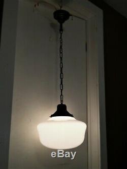 Antique Schoolhouse Light Fixture Industrial Milk Glass Chandelier VTG Art Deco