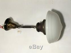 Antique Schoolhouse Light Fixture Industrial Pendant Milk Glass Chandelier VTG