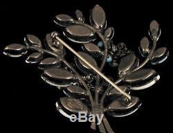 Antique Schreiner New York Blue + White Milk Glass Flower Bouquet Brooch Pin Wow