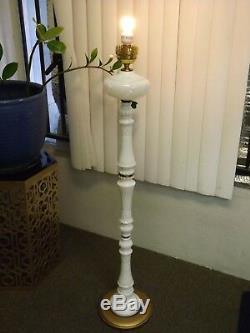 Antique Solid Milk Glass Floor Lamp Victorian RARE Excellent Condition Vintage