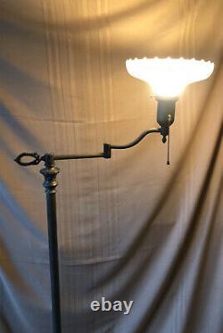 Antique Torchiere Brass Swing Arm Floor Lamp Original Fluted Milk Glass Shade